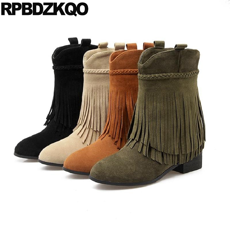 Cute 10 Fringe Pointed Toe Low Heel Shoes Suede Women Boots Winter 2017 Short Autumn Green Big Size Kawaii Tassel Ankle Slip On