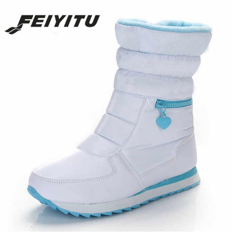 6c1ec619fc5 feiyitu Female winter warm Silver white ladies flat short casual Ankle snow  boot with Fake fur