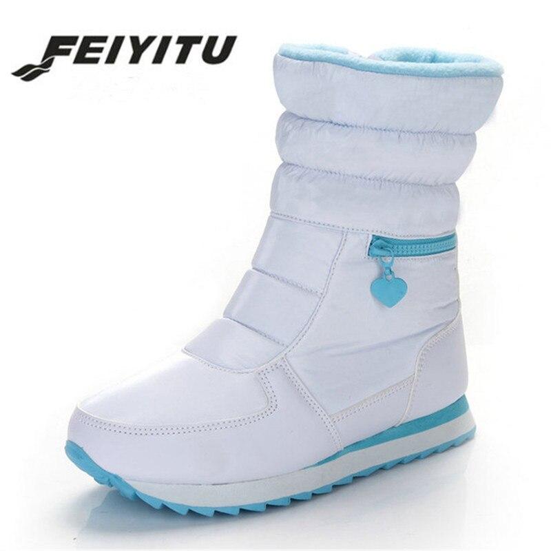 Feiyitu femme hiver chaud argent blanc dames plat décontracté cheville botte de neige avec fausse fourrure femmes imperméable matelassé chaussure