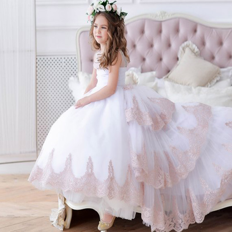 White Flower Girl Dress with Train Pageant Communion Dress Sleeveless Girls Evening Party Dress Little Girl Toddlers Lace Dress lace high low swing evening party dress