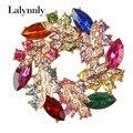 De Moda de alta Calidad Broche de diamantes de Imitación para Las Mujeres de Aleación de Ronda Colorido Broches Broche para Las Mujeres Whloesale X00351