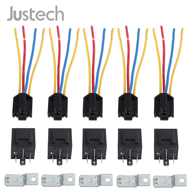 Justech 5 pcs DC 12V Car SPDT Automotive Relay With Harness Socket For Fog Lights <font><b>Door</b></font> <font><b>Locks</b></font> alarm system <font><b>4</b></font> Pin <font><b>4</b></font> Wires 40 Amp image