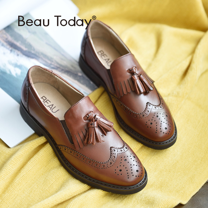 BeauToday Oxfords Shoes Women Wingtip Brogue Style Tulen Calfskin Kulit Handmade Round Toe Slip On Casual Dress Flat 21047