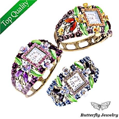Fashion Bronze Bangle Women Watches Bracelet Square Shape Multicolour color Rhinestone