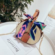 2019 Women Straw Bag Rattan Handbag Tassel Ribbons Popular Handmade Woven Bamboo Tote Female Chain Crossbody Beach Holiday Style