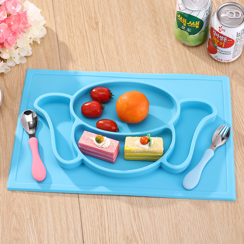 Silicone Children Dinner Dish Plate Health Food Grade Silicone Plate Baby Feeding Bowl Slip Heat Resistant Fruit Food Dinnerware