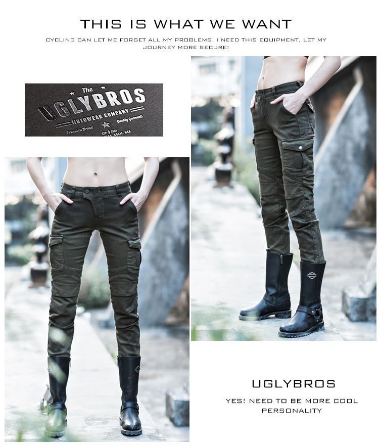uglybros MOTORPOOL UBP06 женщин темно-зеленые повседневные брюки мотоцикл джинсы брюки вентиляторы армии черный зеленый 2 цвета