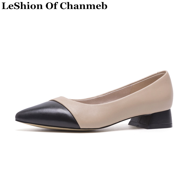 2019 Spring Sheep Skin 3cm Low Heels Flats for Women Patchwork Real Leather Nude Dress Shoes