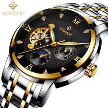 2018 WISHDOIT Mens Watches Top Brand Luxury Montre Homme Clock Men Automatic Skeleton Watch Business Sport Wrist Watch Male Gift ailang date month display rose gold case mens watches top brand luxury automatic watch montre homme clock men casual watch 2018