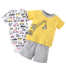 Купить с кэшбэком 2018 New 3Pcs/Set Cotton Short Sleeves T shirt BabyBoys t shirt/Children's T-Shirts/Baby Tops Tee+Baby Bodysuit+Baby Short