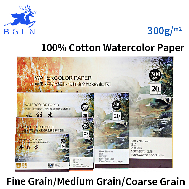 Bgln 300g/m2 Professional Water Color Paper 20Sheets Hand Painted Watercolor Painting Book Creative Office School Art Supplies
