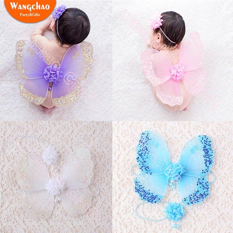 0-1 Alt Engel Flügel Baby Stirnband Fotografie Neugeborenen Fotografie Baby Schmetterling Flügel Blume Foto Anzug Baby Zubehör Wohltuend FüR Das Sperma