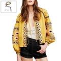 Women Jacket Fashion 2016 Autumn Bohemia Style Embroidery O-Neck Belt Pocket Cozy Casual Lantern Sleeve Coat Brand Mujer