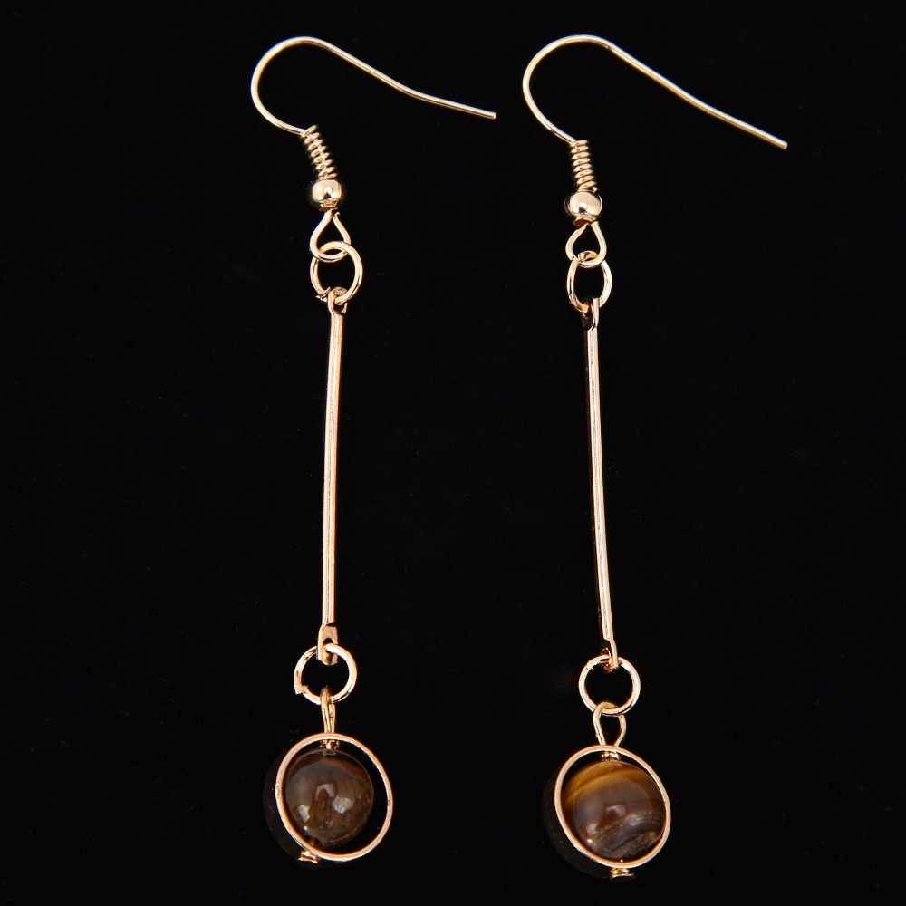 สีเทาสีเทาหินธรรมชาติลูกปัด Golden Stick หูฟังและคลิปผู้หญิงต่างหู Dangle Drop ต่างหู