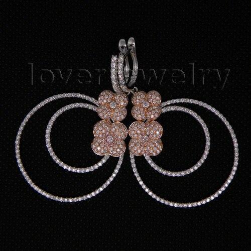 Винтажные двухцветные золотые серьги 14 к, свадебные висячие серьги с натуральным бриллиантом на продажу E161A