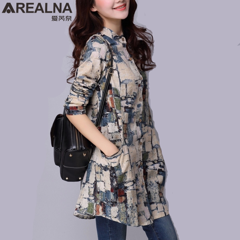 Fashion Female Cotton Blusas 2019 Autumn Kimono Long Floral Print Women Tops and   Blouses   Plus Size Cardigan Tunic Women's   Shirts
