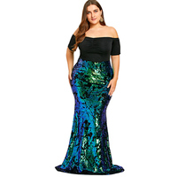 LANGSTAR 2018 Mujer Plus Size 5XL Women Dresses Off Shoulder Sequined Mermaid Dress Elegant Party Dress
