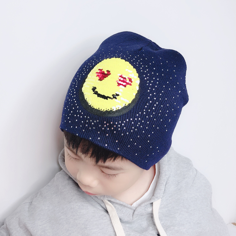 Boys Girls Baby Winter   Beanie   Cap Kids Cartoon Funny Hat Smile Face Sequins Rhinestone   Skullies     Beanies