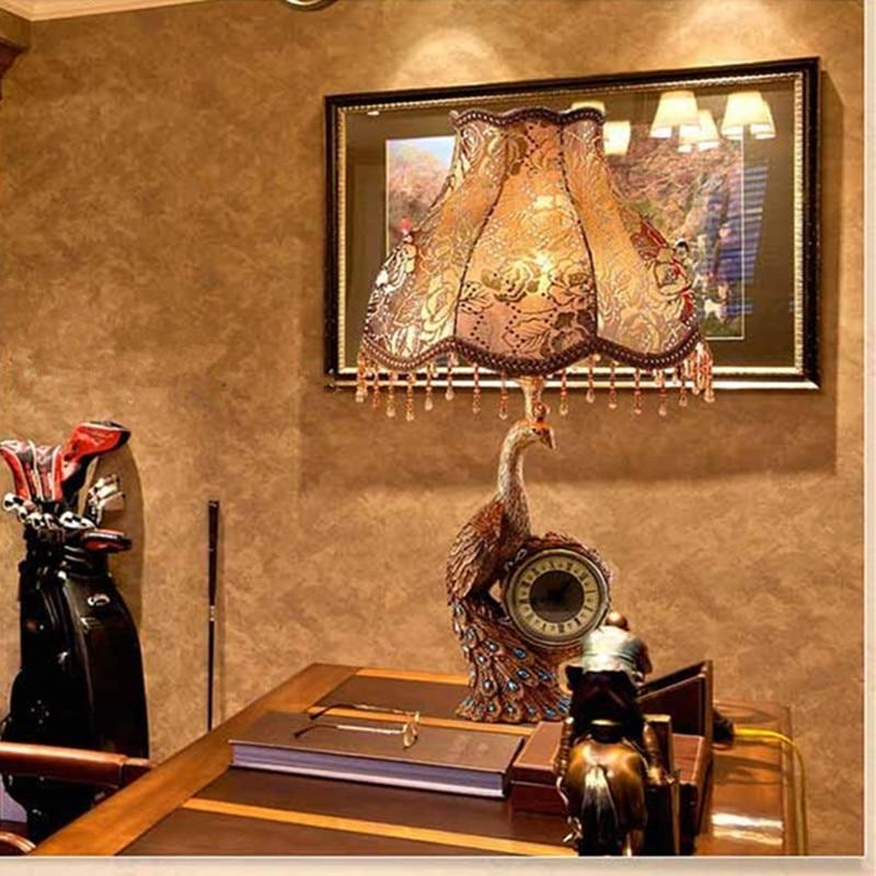 Rétro américain pays salon lampe de Table Loft Art paon tissu lit Bar étude lumière horloge Table lumières livraison gratuite