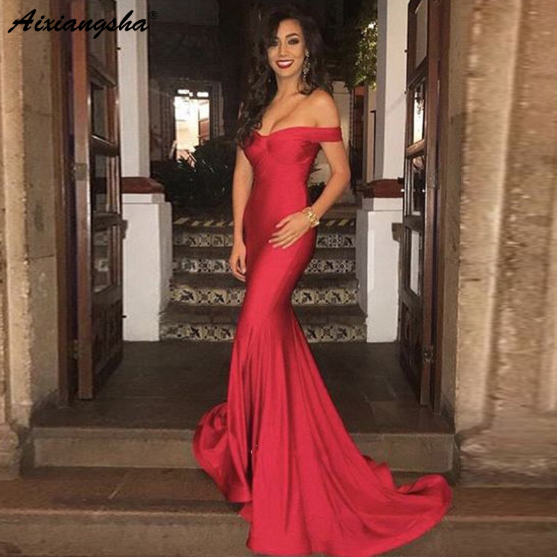 Simple Red   Evening     Dresses   2019 Off the Shoulder Satin Mermaid Prom   Dress   Dubai Saudi Arabic Long   Evening   Gown vestido de festa