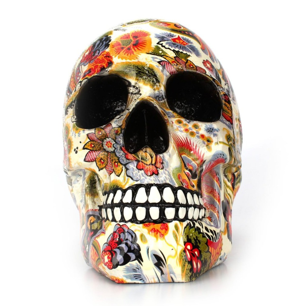 Novelty Printed Human for Skull Resin Crafts Model Modern Home Decor Imitation Decorative Skull Christmas Party Ornaments Gifts