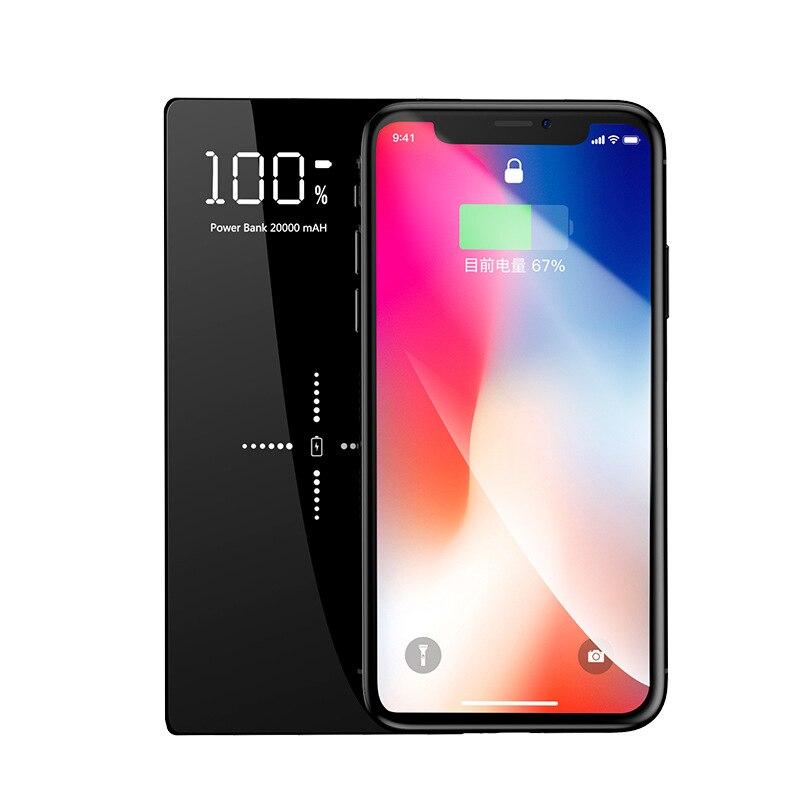 Pour iPhone x xs xs max galaxy S9 Sans Fil Chargeur 20000 mah batterie externe portable batterie externe 5 V/2A 2 sortie usb charge rapide