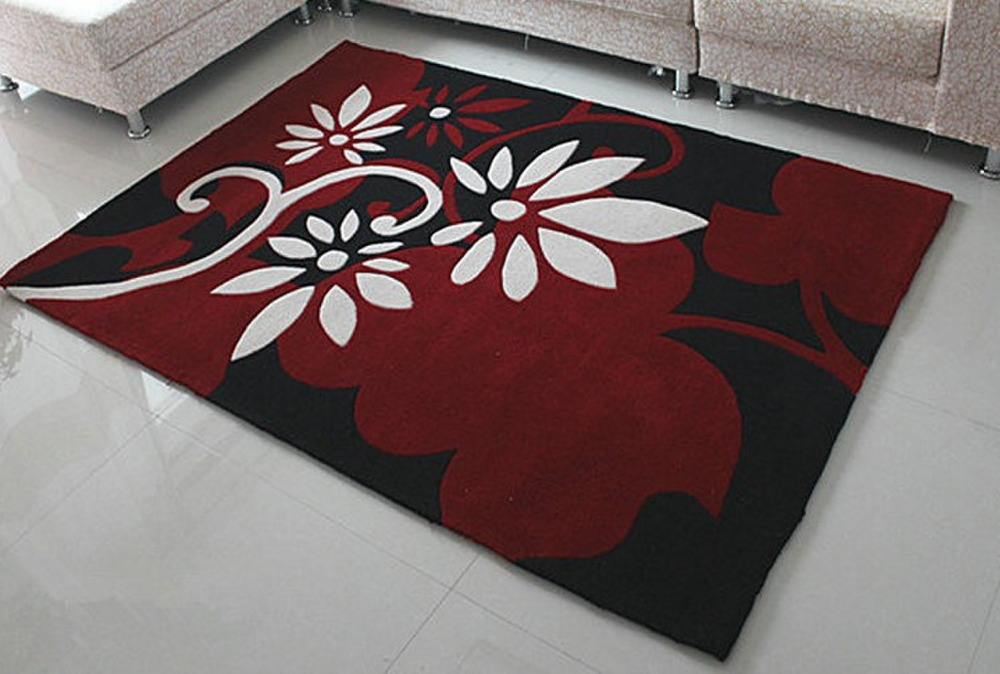 Black Base Big Red And White Flowers Design Modern Rugs And Carpets