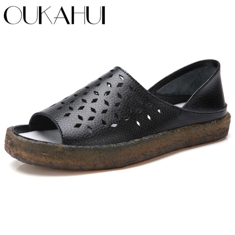 OUKAHUI Plus Size 35-44 2019 Summer New Hollow Sandals Women Flat Low Heel Breathable Fashion Genuine Leather Sandals Females  OUKAHUI Plus Size 35-44 2019 Summer New Hollow Sandals Women Flat Low Heel Breathable Fashion Genuine Leather Sandals Females