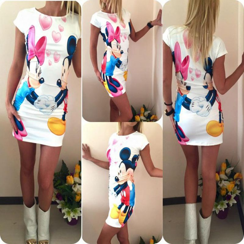 Plus Size 2017 Women Summer Dress Cute Character Printed Short Sleeve Round Neck Vestidos Sheath Bodycon Party Dress Women 1