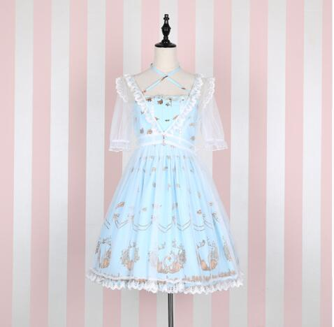 Sweet Sleeveless Swan & Crown Printed Lolita JSK Dress with Transparent Short Sleeve Mesh Cover-up swan print tiered mesh dress