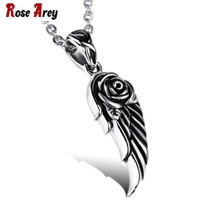 Wholesale 2017 New Fashion Fine Jewelry Hot Sale Silver Angels' Wing Stainless Steel Pendants Necklaces Men Accessories