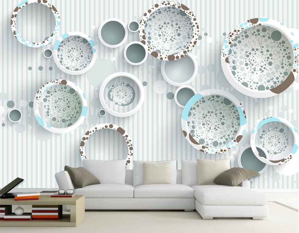 Minimalist Geometry Picture mural Wallpaper Circle Non-woven Fabric For Wall paper for Living room Bedroom TV Sofa Background