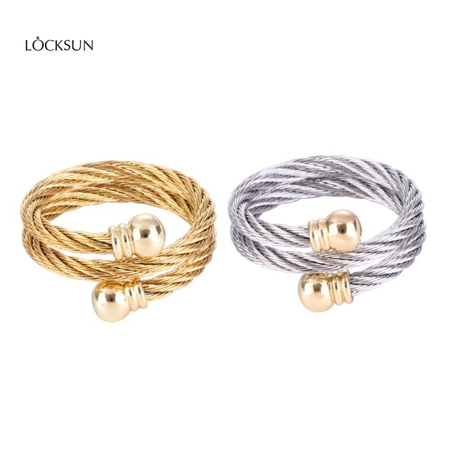 Locksun Gold Silver Color Twist Classical Wedding Engagement Ring for Woman Girl