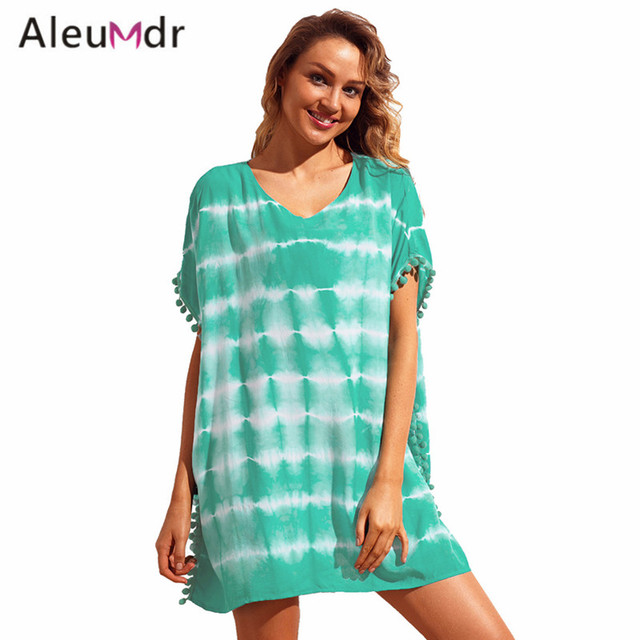 a4daa884a9 Aleumdr Women Cover Ups Swimwear Summer Trim Tie Dye Print Beach Cover Up  Dresses Beachwear Dress LC42274 Robe De Plage