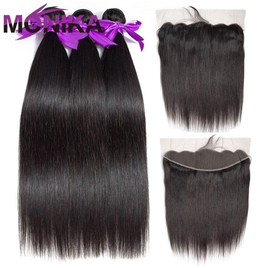 Monika Hair Straight Human Hair With Frontal Brazilian Hair Bundles With Frontal Non Remy Hair 3/4 Straight Bundles with Closure