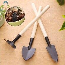 3 шт. мини лопата грабли в комплекте мини садовый инструмент бонсай набор инструментов металлическая деревянная ручка головка Лопата для цветов горшечные растения WYQ