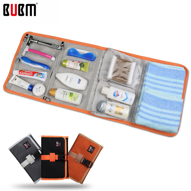 BUBM digital receiving storage bag  Portable Travel Organizer toiletries bag electronic accessories 2 size S L black gray golden