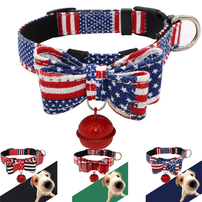 Dog Collar Christmas Adjustable Bow Necklace Printed Collar With Bell Dog Puppy Pet Dog Collars DROPSHIP 2T5T45