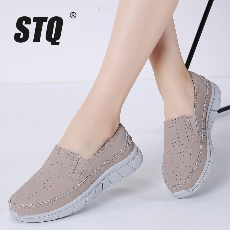 €10.48 63% de DESCUENTO|STQ 2019 mujer flats sneakers Zapatos planos de ballet zapatillas blancas zapatos de barco mujer slip on tenis zapatos para