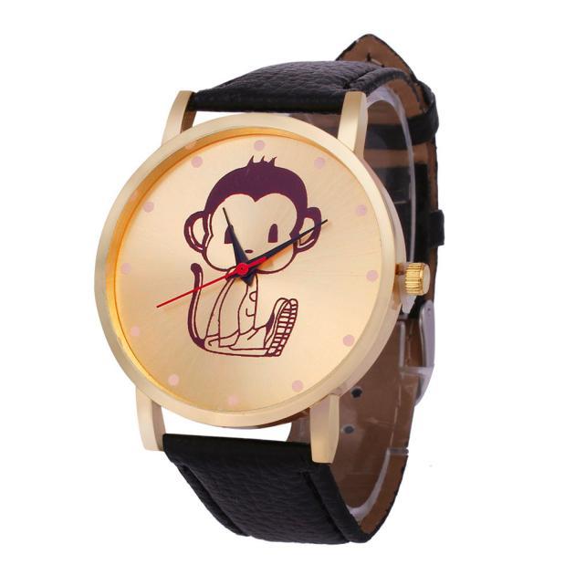 Bright Paradise 2017 New Classic Fashion Monkey Pattern Pu Leather Band Analog Quartz Wristwatches Wholesale Apr19 Watches