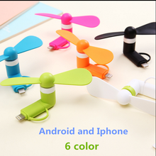 10pcs 6 colors Wholesale Portable Travel Mini USB + Micro USB Fan Fans for Android smart Phone for iPhone 6s 6 Plus 5s colorful