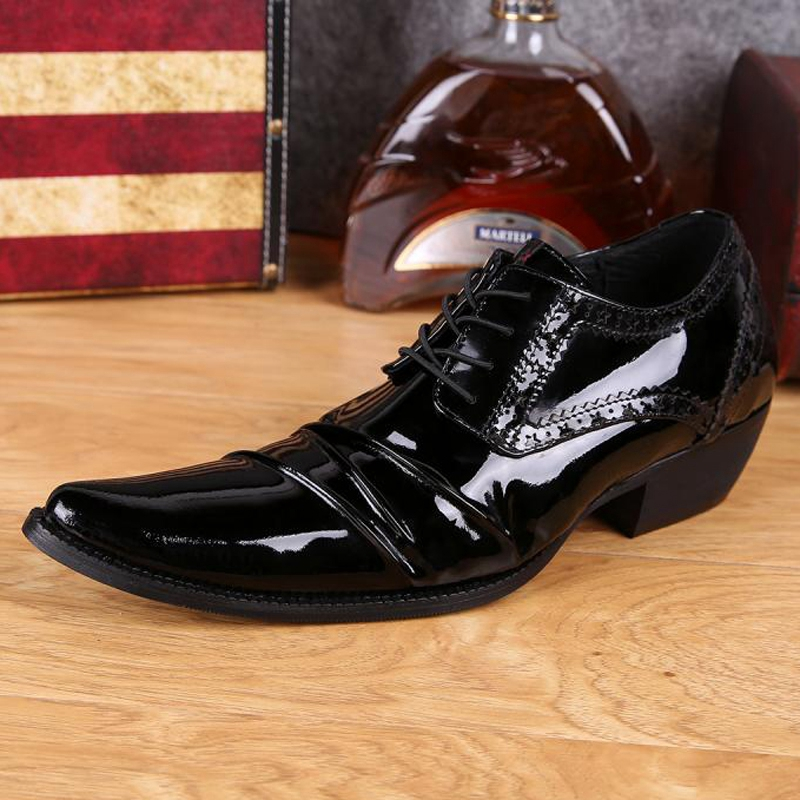 Plus Size Fashion Pointed Toe High Heels Man Banquet Club Oxfords Patent Leather Derby Men's Formal Dress Party Shoes SL262 plus size 2016 new formal brand genuine leather high heels pointed toe oxfords punk rock men s wolf print flats shoes fpt314
