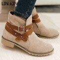 LIN REI outono fivela grande tamanho mulheres ankle boots Preta marrom Bege quadrado calcanhar apartamentos sapatos femininos sapatos de inverno bota de camurça sapatos