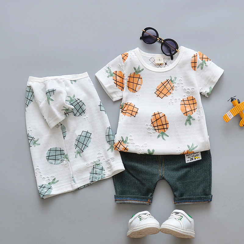 Summer Boys Clothing Set 2018 New Child Cotton Cartoon Pineapple Short Sleeve t-shirt+ Stripe Shorts Set