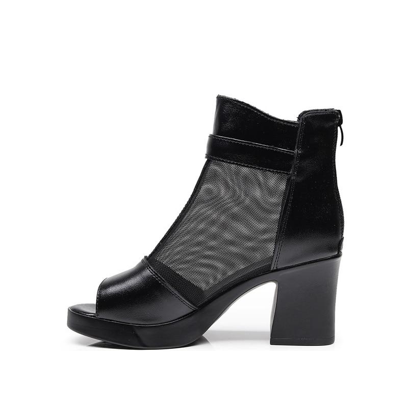 PumpQueen Sandals Women Shoes Peep Toe High Heels Real Leather Metal Buckle Black Sexy Summer Woman Mesh Black Female Sandals