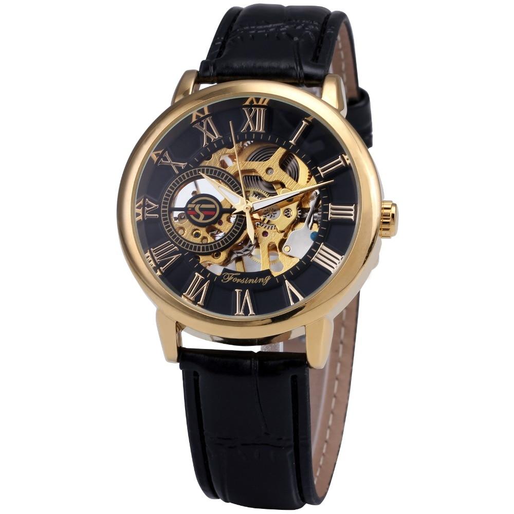2016 forsining 3d логотип Королевский дизайн черного золота мужские механические часы montre homme мужские часы лучший бренд полунавесной люкс кожаный скелет