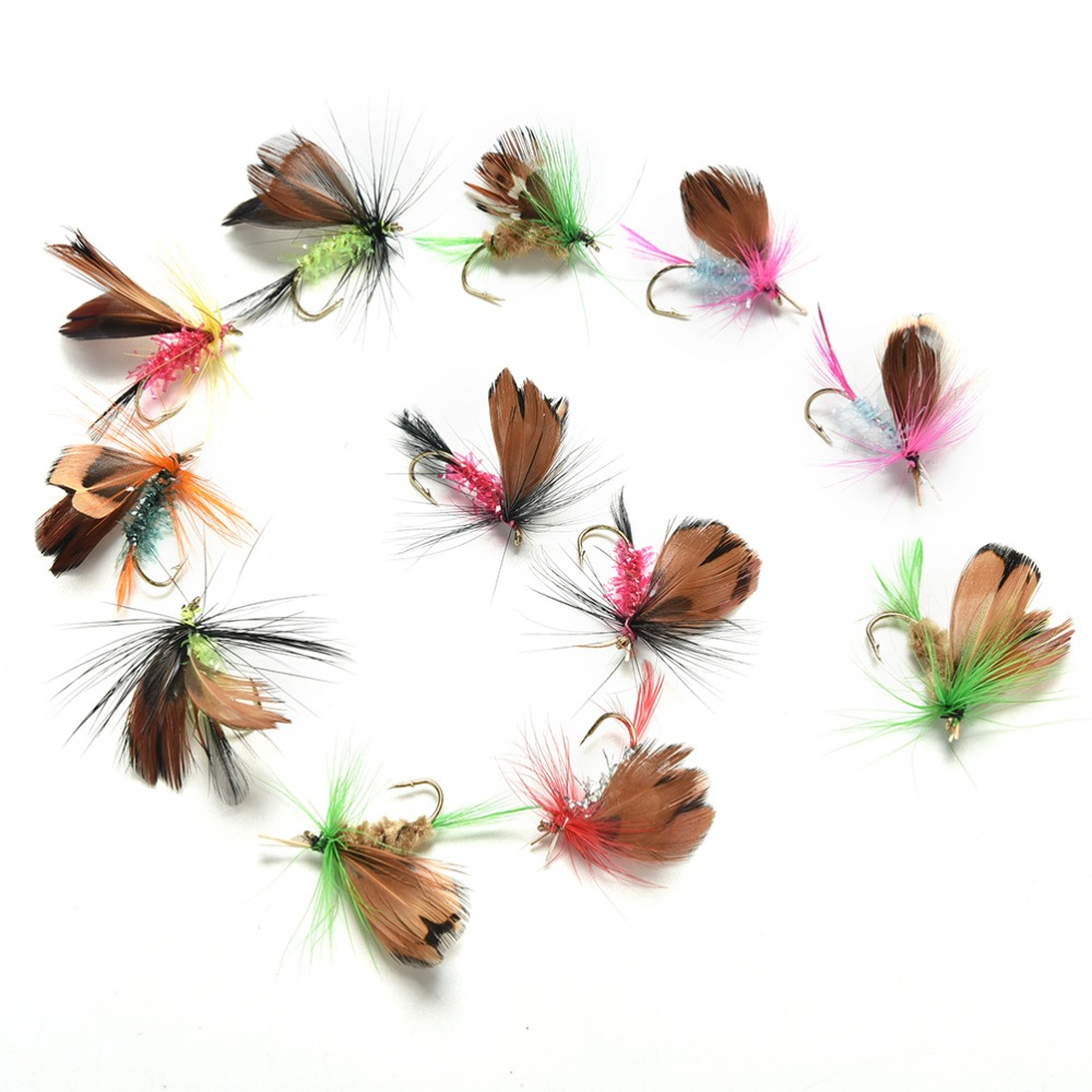 JETTING 12 pcs/set Butterfly Style Dry Fly Hooks Fishing Trout Salmon Flies Fish Fly fishing Hooks Salmon Trout Single Hook salmon