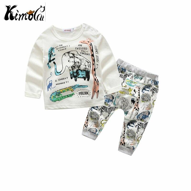 Kimocat Spring autumn heat sale long-sleeve baby cute cartoon animal elephant and giraffe cotton long sleeve suit