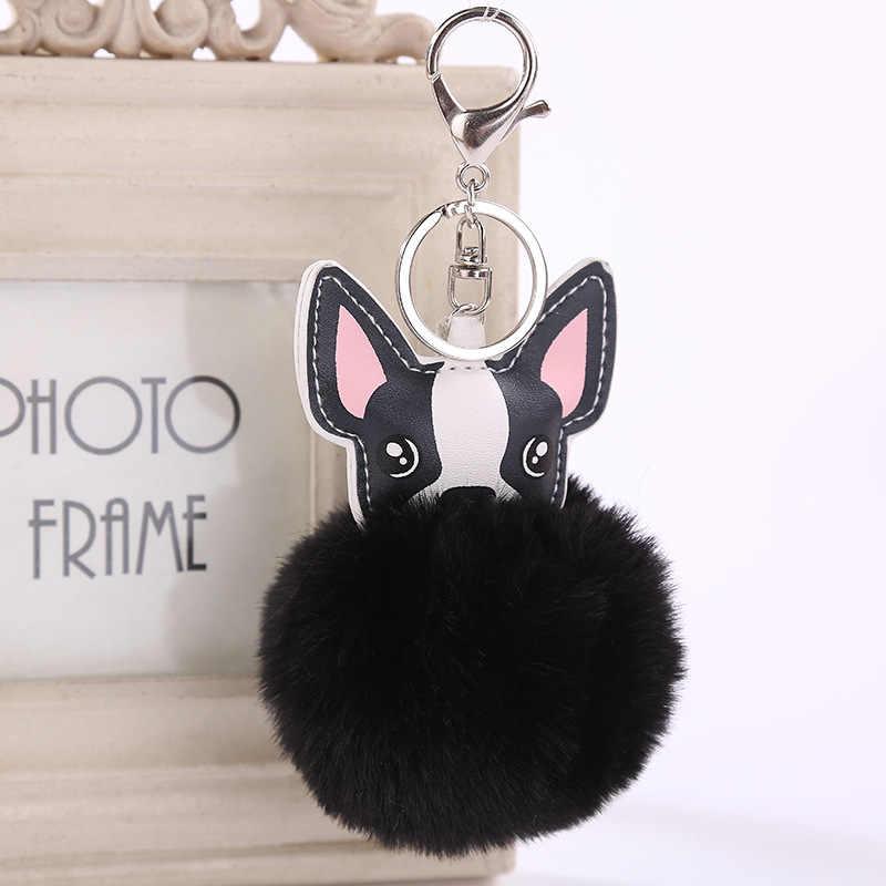 Fofo Coelho Bola De Pêlo Pompom Keychain Chaveiro de Couro Pu Animal Cão Buldogue Francês Chaveiro Saco Titular Charme Bugiganga 6C0119