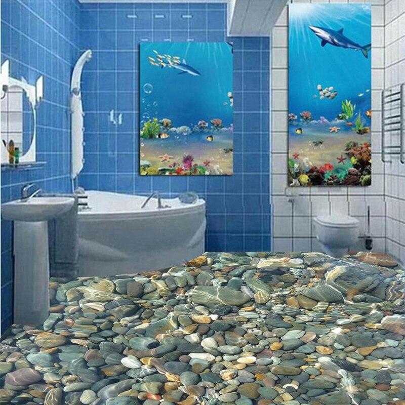 € 17.45 36% de réduction|Livraison gratuite 3D personnalisé mur autocollant  galet revêtement de sol salle de bain peinture Photo papier peint pour ...